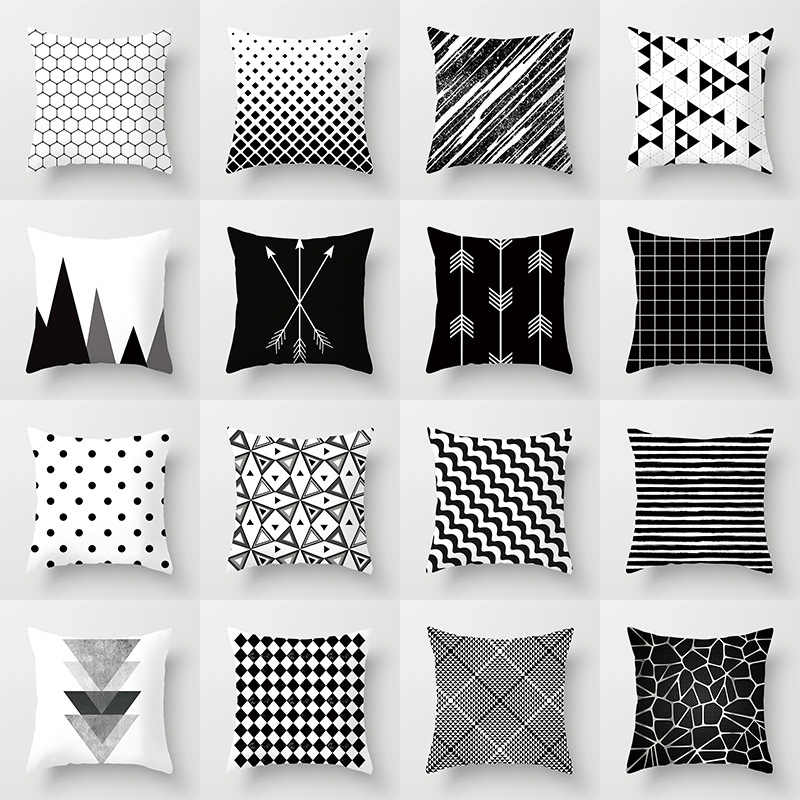 Geometris Sarung Bantal Hitam dan Putih Polyester Melempar Bantal Case Bergaris Putus-putus Grid Segitiga Seni Geometris Sarung Bantal