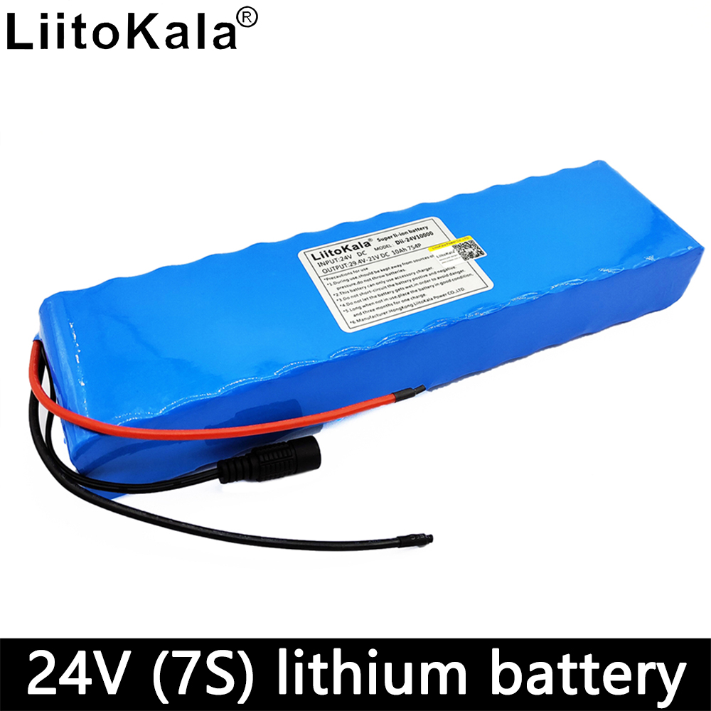 Liitokala 24v <font><b>battery</b></font> for electric scooter 24V 10ah lithium ion <font><b>battery</b></font> <font><b>pack</b></font> <font><b>7s</b></font> bms 10000mAh 18650 15A discharge image