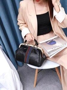 Image 5 - [Telastar] 2019 حصان الكتف امرأة حقيبة مزاجه المحمولة بوسطن محفظة حقيبة بإطار جلد طبيعي و الفراء الشتاء حقيبة يد
