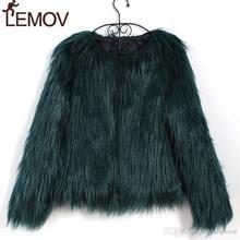 Furry Fur Coat Women Fluffy Warm Long Sleeve Female Outerwear Autumn Winter Coat Jacket Hairy Collarless Overcoat ZOGAA