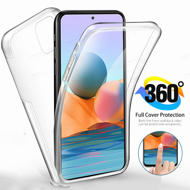 360° Front Back Transparent Case For Xiaomi Redmi Note 10 Pro 10s Xiomi Redme Nota 9 8 T 8T 9T 7A 7 9A Phone Cover Protect Coque