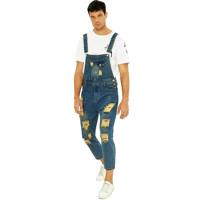 Hot Deal 7e3ac Sokotoo Men S Fashion Plus Size Ankle Length Pocket Denim Overalls Casual Holes Ripped Crop Jeans Slim Jumpsuits Cicig Co