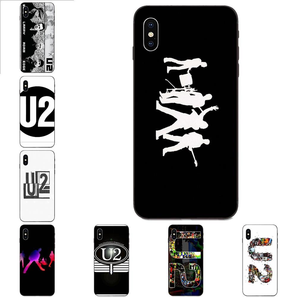 Soft TPU Print Capa For Apple iPhone 4 4S 5 5S SE 6 6S 7 8 11 Plus X XS Max XR Pro Max U2 Black And White Logo image