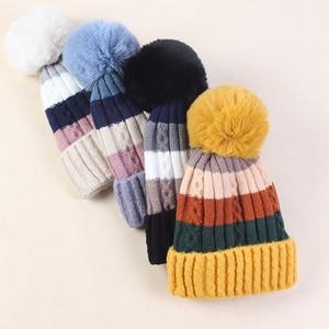 Image 2 - Winter Hüte für Frauen Hüte Kintted Mützen Frauen Hüte Warme Mützen Winter Hut Weibliche Caps Damen Warme Kintted Skullies herbst