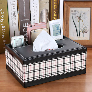 PU Leather Tissue Box Cover Desk Makeup Cosmetic Organizer Remote Controller Phone Holder Home Office Tissue Paper Napkin Box 3