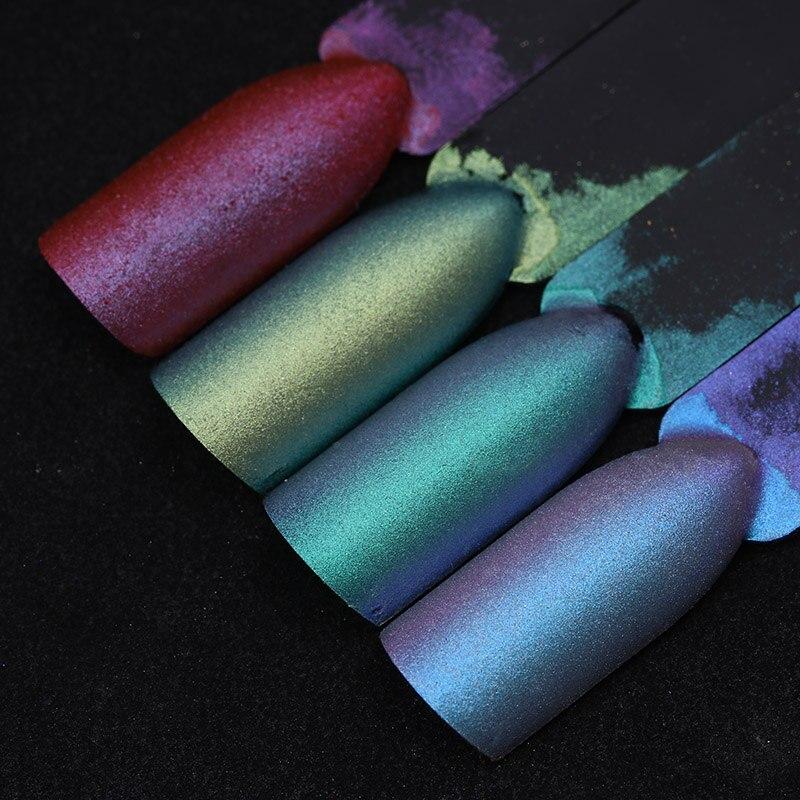 1g Chameleon Nail Powder Mirror Matte Effect Chrome  Nail Art Pigment Powder Glitter Nail Dust 4 Colors UV Gel Polish