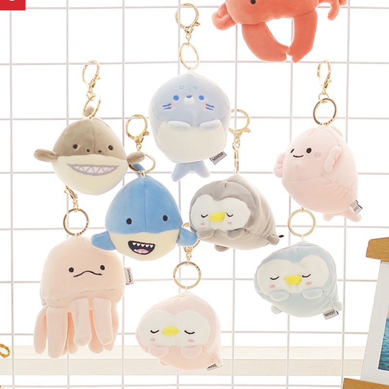 Creative Seal Penguin Shark Crab Plush Toys Whale Dolls & Stuffed Toys Plush Small Pendant Sea Animal Keychain Children Gifts