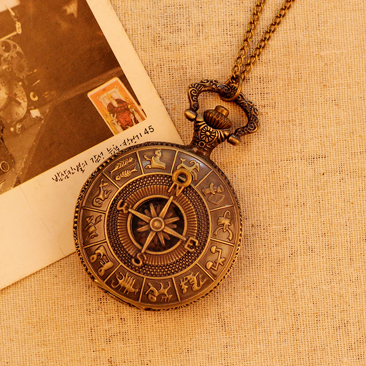 Fashion Antique Bronze Men Women Pocket Watch Fashion Luxury Vintage Necklace Map Pattern Pendant Pocket Watch Relogio Masculino