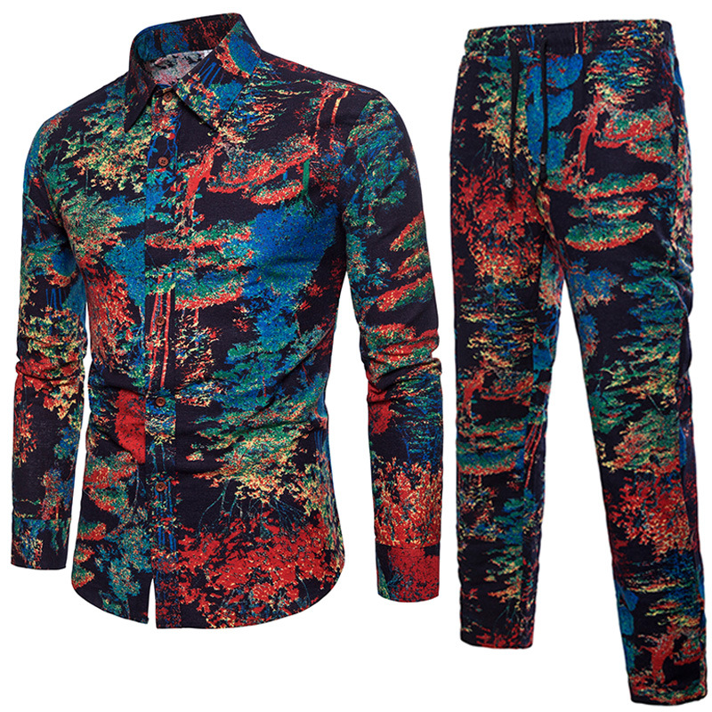 2018 New Style Chinese-style Pants Men's Flower Trousers Large Size Loose Cotton Linen Printed Shirt Set
