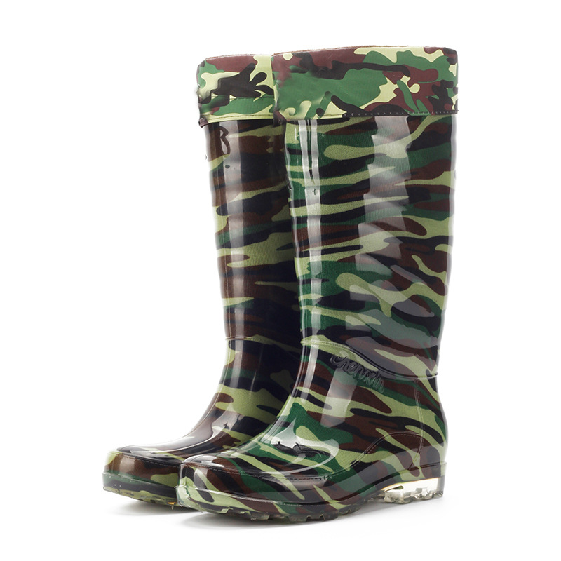 Waterproof Man Rainboots Camouflage Autumn Winter Warm Knee-High Male Boots PVC High Top Wading Shoes Velvet Outdoor Antiskid785 image
