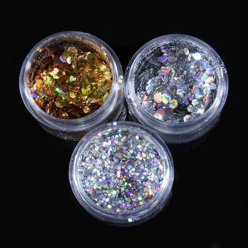1 Box holograficzny złoty brokat do paznokci Laser srebrny Pigment do paznokci płatki cekiny błyskotka porady na paznokcie żelowe dekoracje