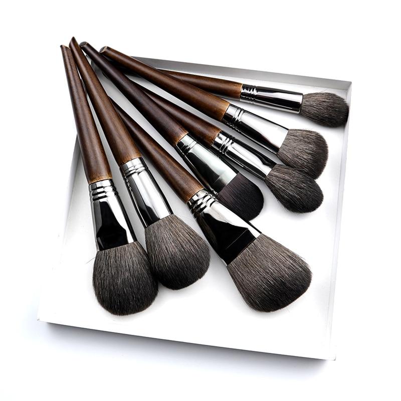 OVW Natural Goat Hair Makeup Brushes Set Professional Kit brocha maquillaje pedzle do makijazu blending smudging brush shader in Eye Shadow Applicator from Beauty Health