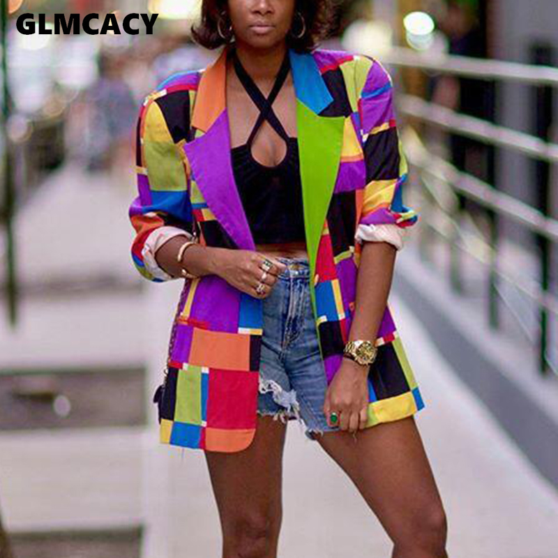Women Geo Printed Colorful Blazer Elegant Ladies Chic Streetwear Hip Hop Sport Coat Funny Suit Jackets