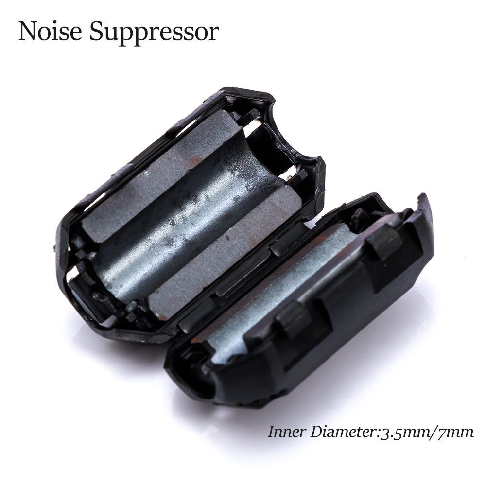 5pcs 3.5/7mm EMI RFI Noise Suppressor Clip Choke Ferrite Core Cable Filter Black Passive Components