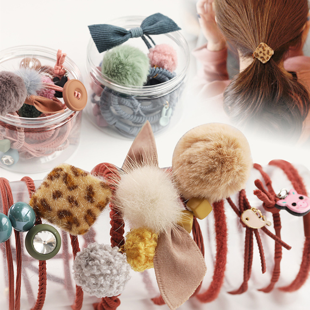 Fluffy Pom Pom Ball Elastic Hair Tie Rope Ring Ice Cream Ponytail Holder Girl