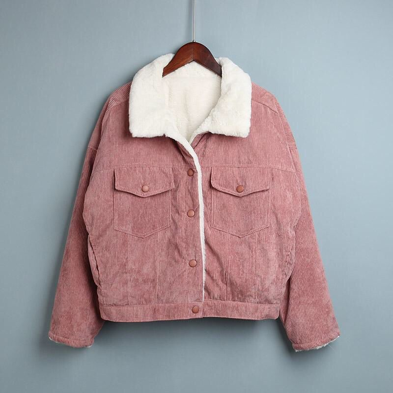 Spring Autumn Corduroy Basic Jacket Lambswool Women Bomber Jacket short Outwear Women s jacket Warm fur