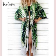 Baumwolle Strand Cover up Print badeanzug cover up Bademode Frauen Sommer Kleid Kaftan Robe de Plage Saida de Praia tuniken Pareo(China)