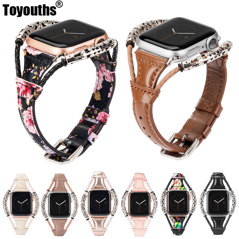 Leather Strap For Apple Watch Bands Women Slim Weave Double Ring Wristbands Replacement Band Accessories For Iwatch 4/3/2/1