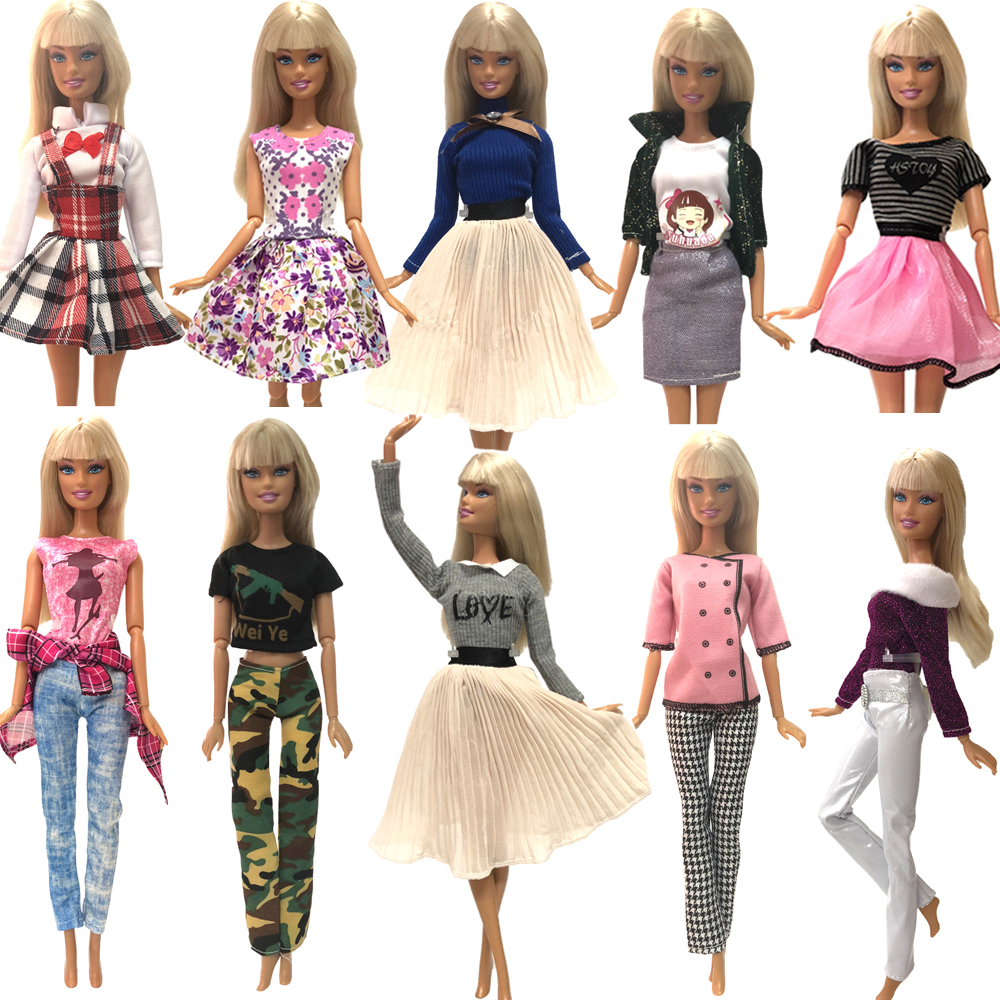 NK Mix Newest Doll Dress  Handmade Party Clothes Top Fashion Dress For Barbie Noble Doll Accessories Baby Toys Gift  084A  JJ