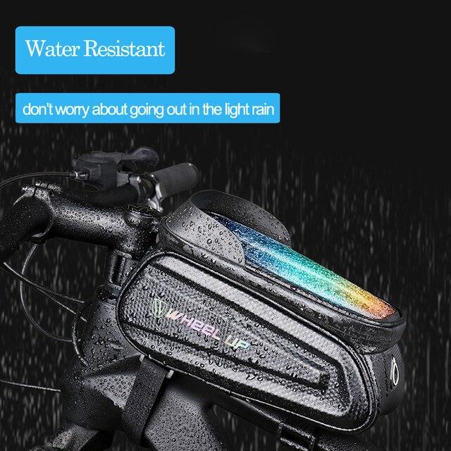 Newboler bolsa de ciclismo à prova de chuva, estojo para celular, touch screen, mtb, acessórios de bicicleta, para cano superior, refletor 4