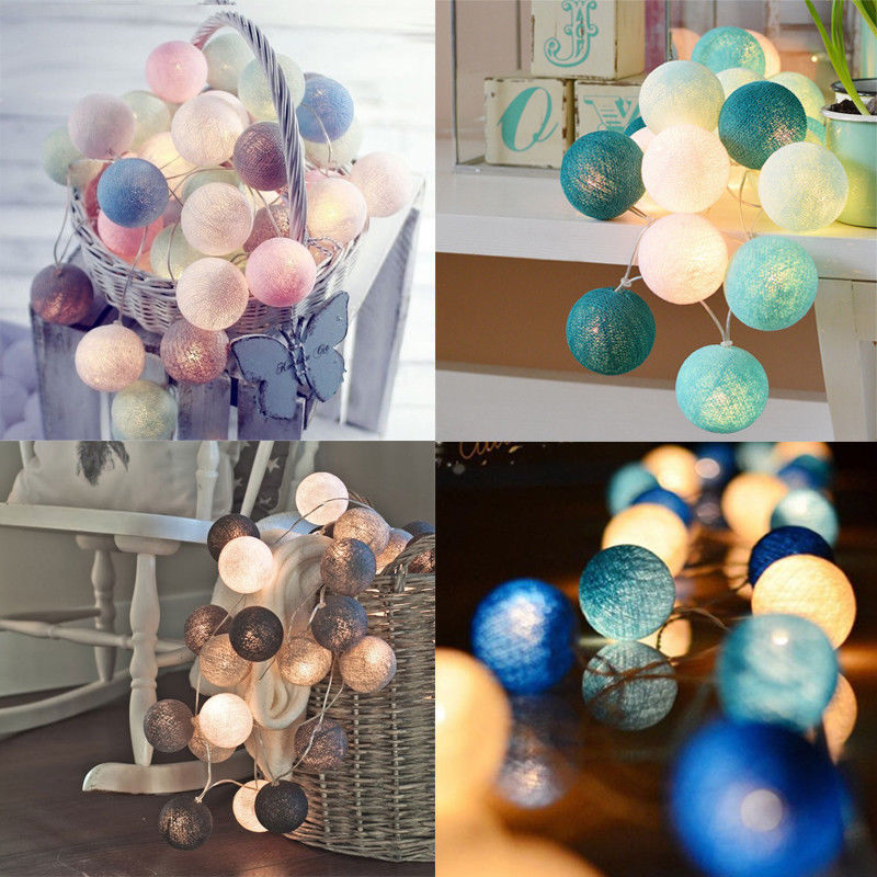 Permalink to USB Cotton Ball LED Light string Holiday Lights Hanging Decor Lamp Christmas Wedding Garden Party Outdoor Decor Lantern