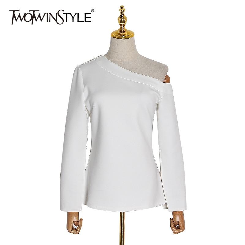 TWOTWINSTYLE Casual White Female T-Shirt Slash Neck Flare Long Sleeve Sexy Asymmetrical Women T Shirt Clothing 2020 Fashion Tide