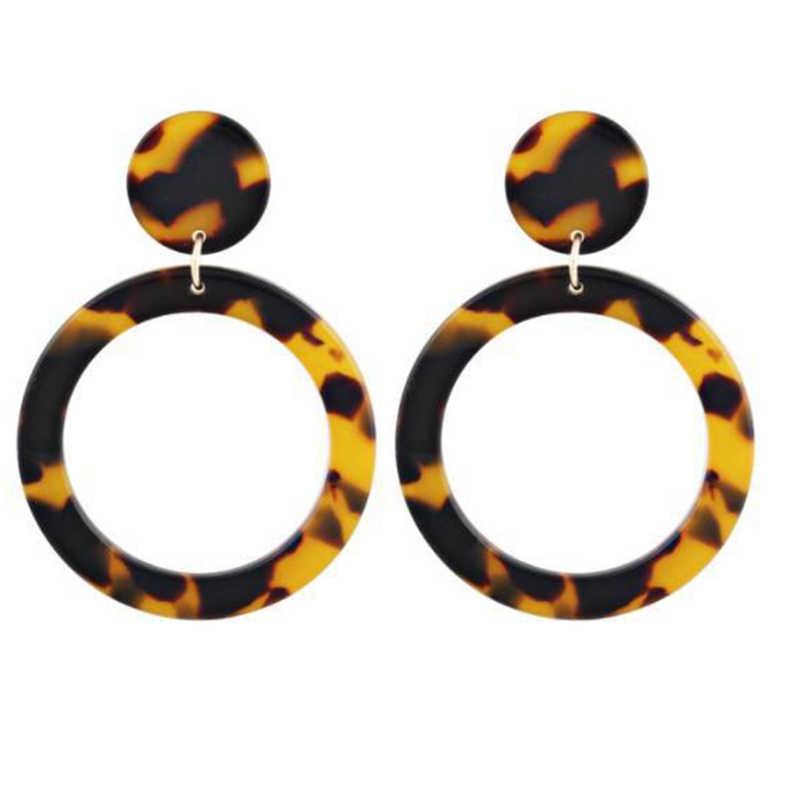 2019 Bohemia Acrylic Resin Drop Earrings Women Leopard Print Round Boho Dangle Earrings Fashion Female Jewelry Za Earrings