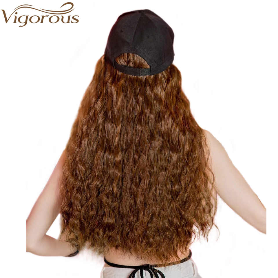 Vigorous New Baseball Cap with Water Wave Hair Extensions Black Cap with Long Synthetic Hair Extensions for Girls Easy to Wear