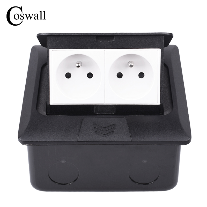 Coswall All Aluminum <font><b>Black</b></font> Metal Panel Slow <font><b>Pop</b></font> Up Floor <font><b>Socket</b></font> 16A 2 Gang Poland French Standard Power Outlet With Grounded image