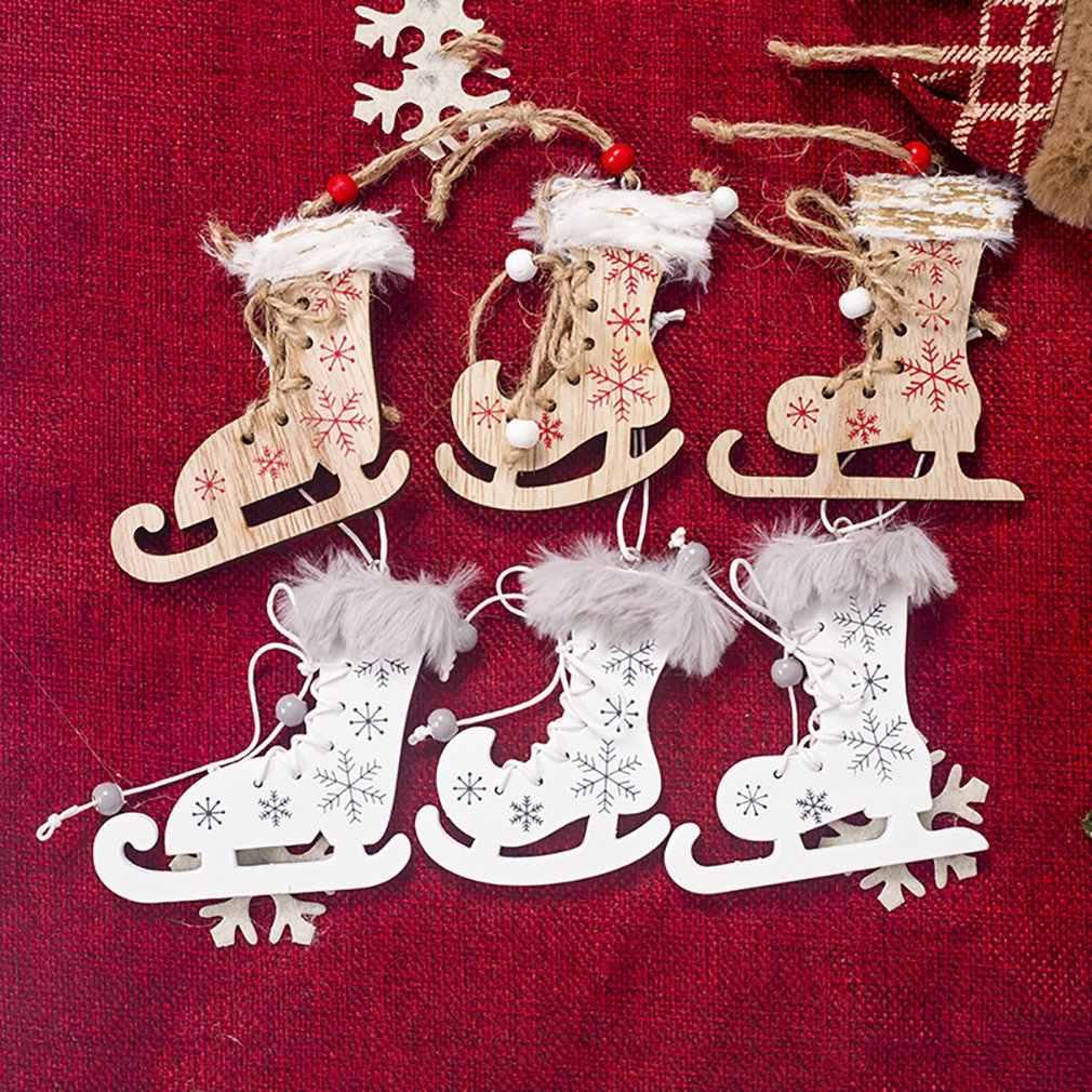 Enforcamentos de natal Pintado Impresso Patins Com Cânhamo Corda Pequeno Pendurado Da Árvore De Natal Decoração Do Jardim 3pcs