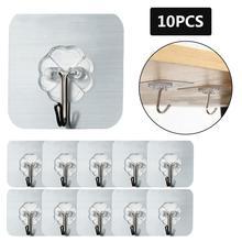 10 шт. крепкие самоклеящиеся настенные крючки многоразовое бесшовное, прозрачное Вешалка из нержавеющей стали для ванной комнаты