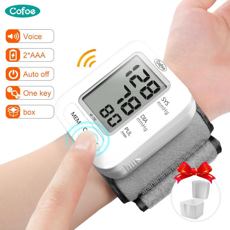 Cofoe Digital Wrist Blood Pressure Monitor Automatic Sphygmomanometer Voice BP Tonometer Heart Rate Pulse For Health Care