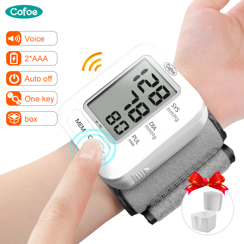 Cofoe Digital Wrist Blood Pressure Monitor Automatic Sphygmomanometer Voice BP Tonometer Heart Rate Pulse For Health Care image