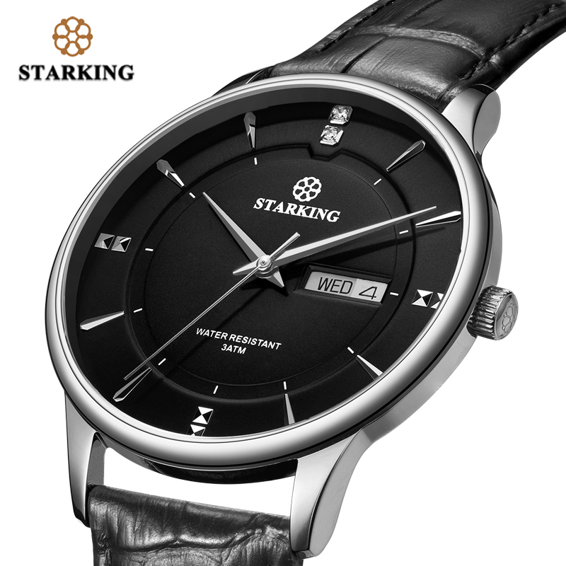 STARKING Men Watch Fashion Stainless Steel Luxury Quartz Watch Men Casual Slim Dress Waterproof Leather Sapphire Male Wristwatch|Quartz Watches| |  - title=