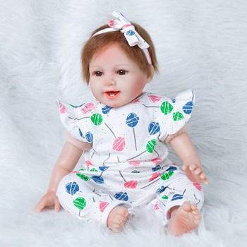 JULY'S SONG 55CM Reborn Baby Dolls Adorable Lifelike Baby Reborn Dolls For Girls Cloth Cotton Body Soft Accompany Gift For Kids