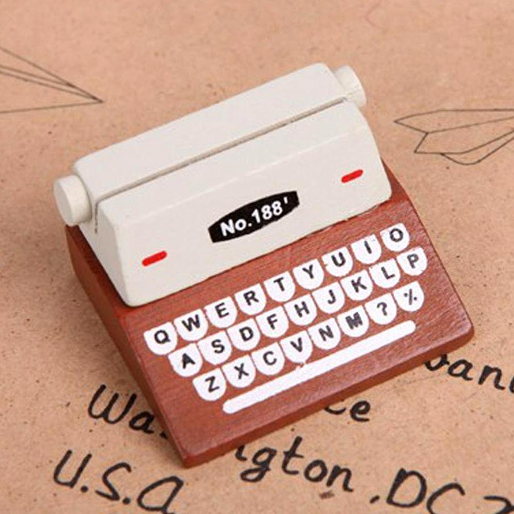Vintage Typewriter Business Card Holder Desk Kawaii Messege Memo Photo ResinHolder For Office School Stationary Supplies