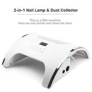 Image 3 - Лампа для ногтей 2 в 1 с автоматическим датчиком, Сушилка для ногтей и мощный пылеуловитель для ногтей, очиститель 80 Вт, семейный личный маникюрный салон, инструмент для маникюра
