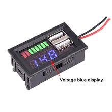 Voltímetro digital com display led, mini voltímetro e medidor de tensão, painel para carros e motocicletas dc 12v, usb duplo 5v2a saída de saída