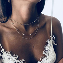 Simple Boho Gold Silver Chain Beads Choker Necklace Women Layerd Chocker Necklaces For collar collier collares kolye