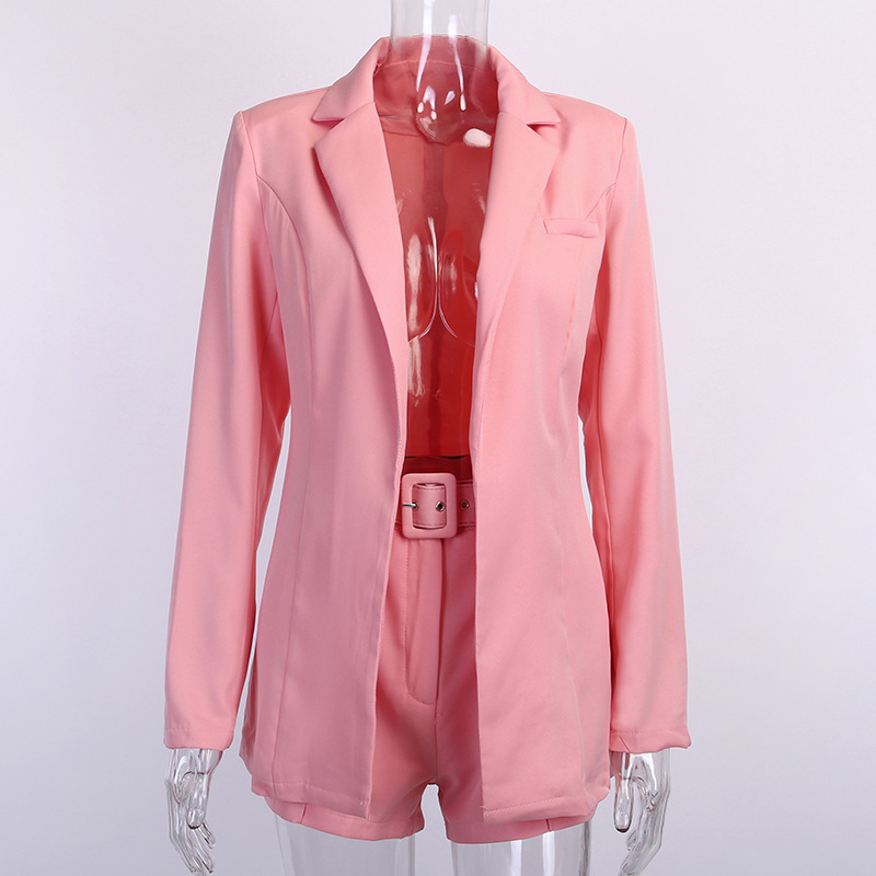 Sexy Temperament Women's Jacket Shorts Set Fashion Casual Women Solid Color Set