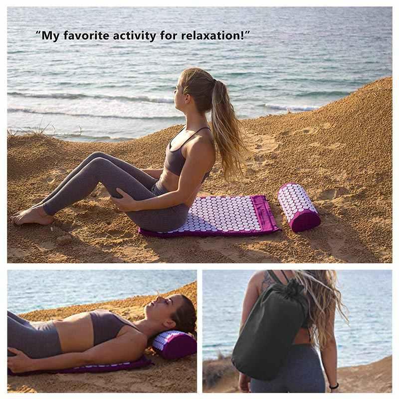 Coussin d'acupression tapis de Massage douleur corporelle tapis de Yoga Fitness Pilates ensemble d'oreillers soulager sac cadeau