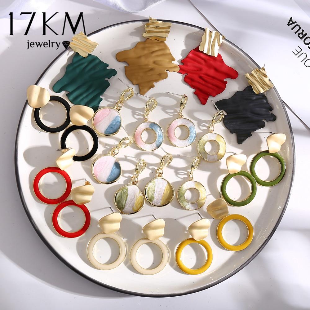 17KM Round Acrylic Twist Dangle Earrings For Women Alloy Hollow Drop Earring 2020 Daily Wear Spring&Summer Fashion Jewelry