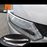 Sobrancelha capa frente lâmpada guarnição abs chrome 2014 2015 2016 para nissan xtrail t32 acessórios do carro x-trail rogue cabeça luz
