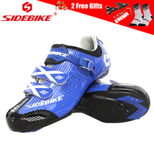 SIDEBIKE Processional Bicycle Shoes Cycling Road Mountain Bike Shoes Men Breathable Anti-slip MTB Racing Athletic Shoes Blue sidebike mtb shoes mountain road cycling shoes men women breathable zapatillas ciclismo non slip spd bicycle shoes bike shoes