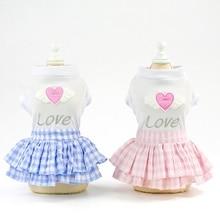Милая одежда для щенков; клетчатая короткая юбка принцессы; топ с сердечком; платья для собак; Ropa Perro