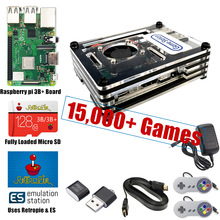 Raspberry PI 3 Modell B + Plus Arcade Konsole Retropie Volle DIY Kit 128GB 18000 + Spiele Angepasst Retropie emulation Station ES
