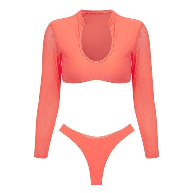 Long Sleeve High Cut Swimsuit 10