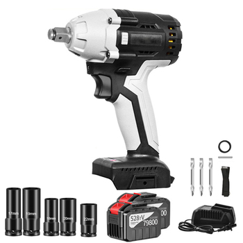 цена на 30000mAh Cordless Electric Impact Wrench 1/2 Square Socket Sets 380N.m Max Torque Rechargeable Impact Nut Wrench Power Tools