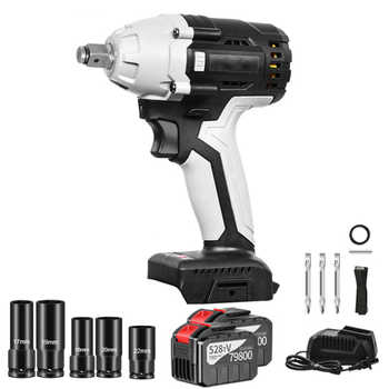 """30000mAh Cordless Electric Impact Wrench 1/2\"""" Square Socket Sets 380N.m Max Torque Rechargeable Impact Nut Wrench Power Tools - DISCOUNT ITEM  72 OFF Tools"""