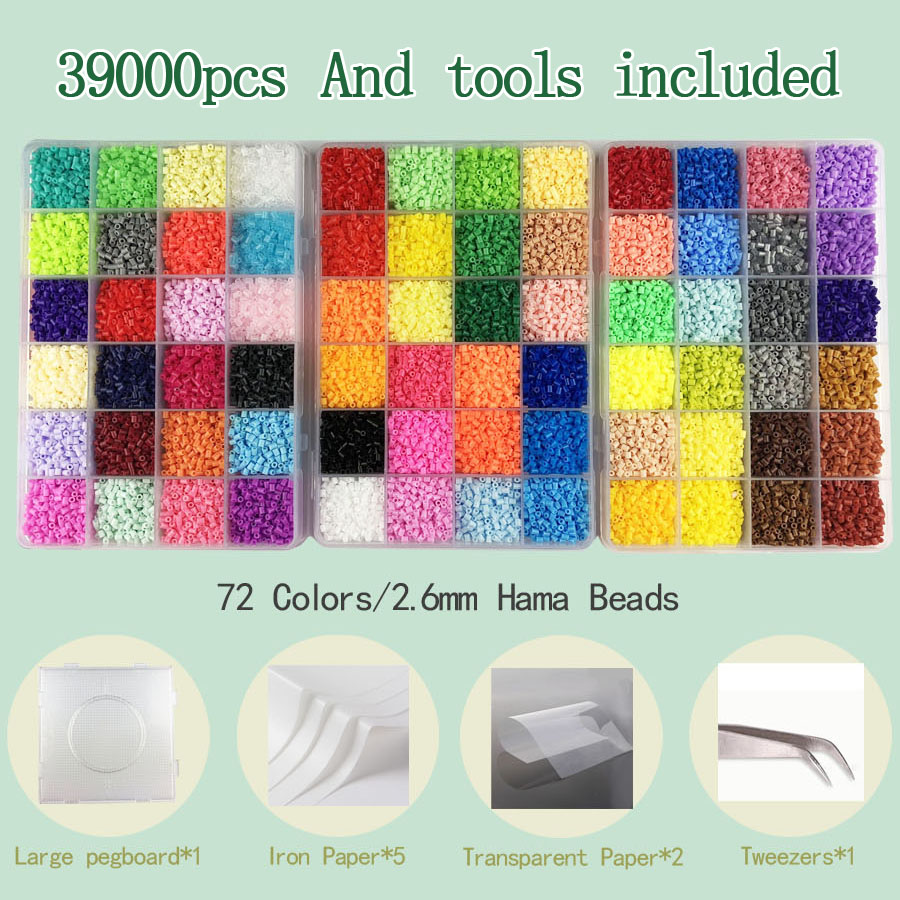 2.6mm/5mm Hama Beads Iron Beads And Pegboard Tool Perler Fuse Bead Jigsaw Puzzle DIY Toy Kids Creative Handmade Craft Toy Gift